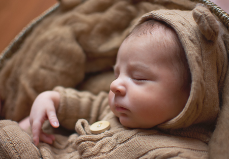 Baby Elijah Williamsport PA Photographer Newborn baby boy bear bonnet brown neutral colors