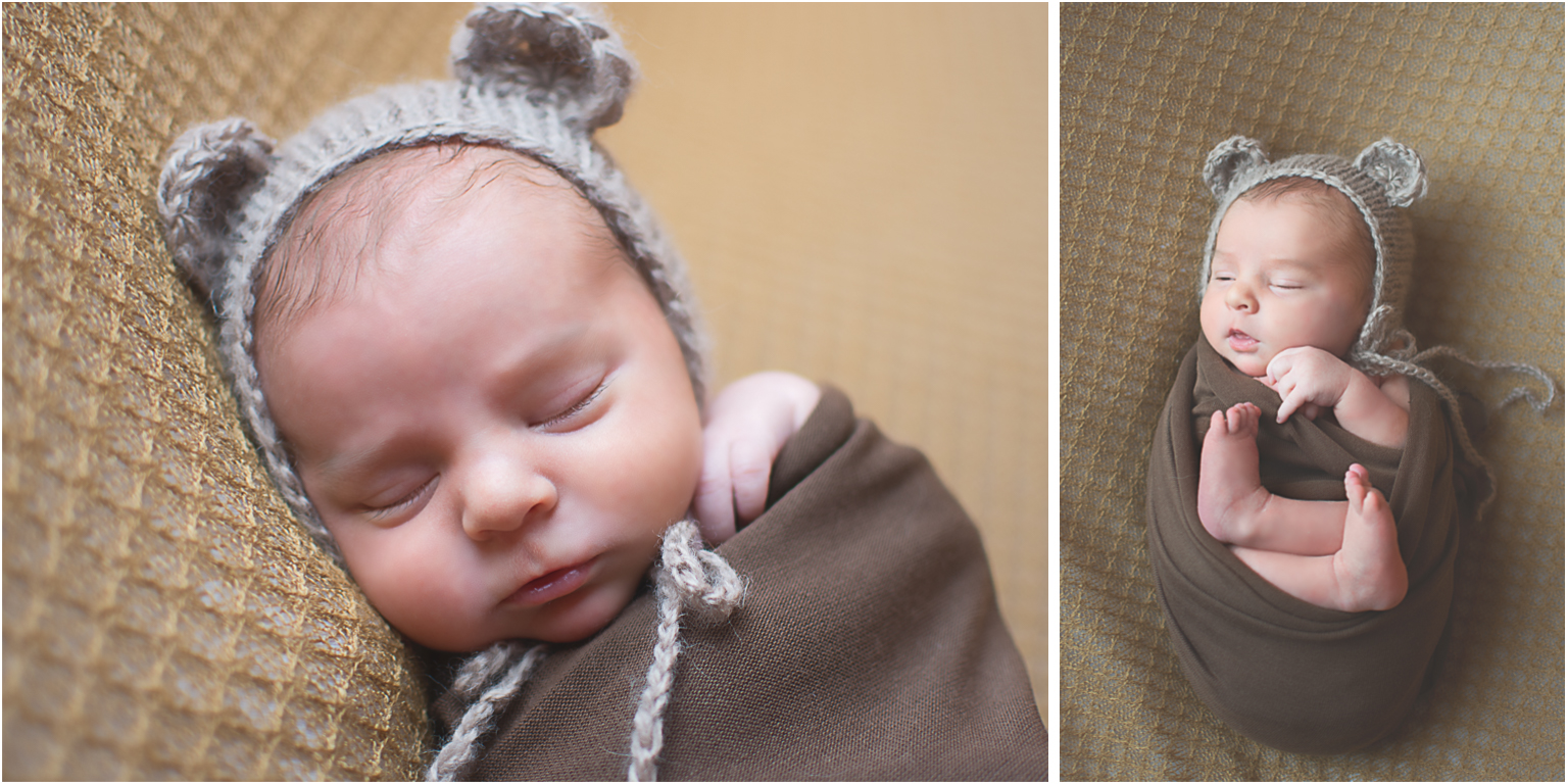 Baby Elijah Williamsport PA Newborn Photographer baby boy neutral colors teddy bear bonnet and brown wrap in basket