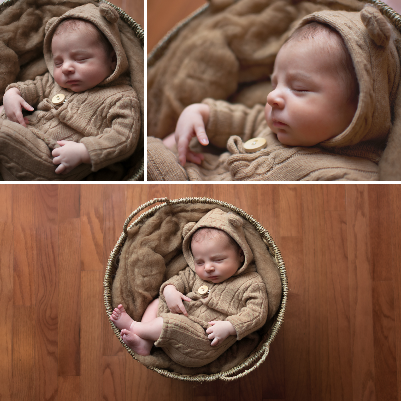Baby Elijah Williamsport pa newborn photographer in home newborn session baby boy neutral colors bear connet baby in basket newborn outfit
