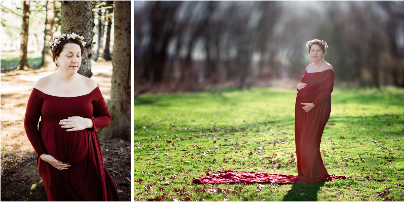 Maternity Photography Brand Video Red Gown outdoor
