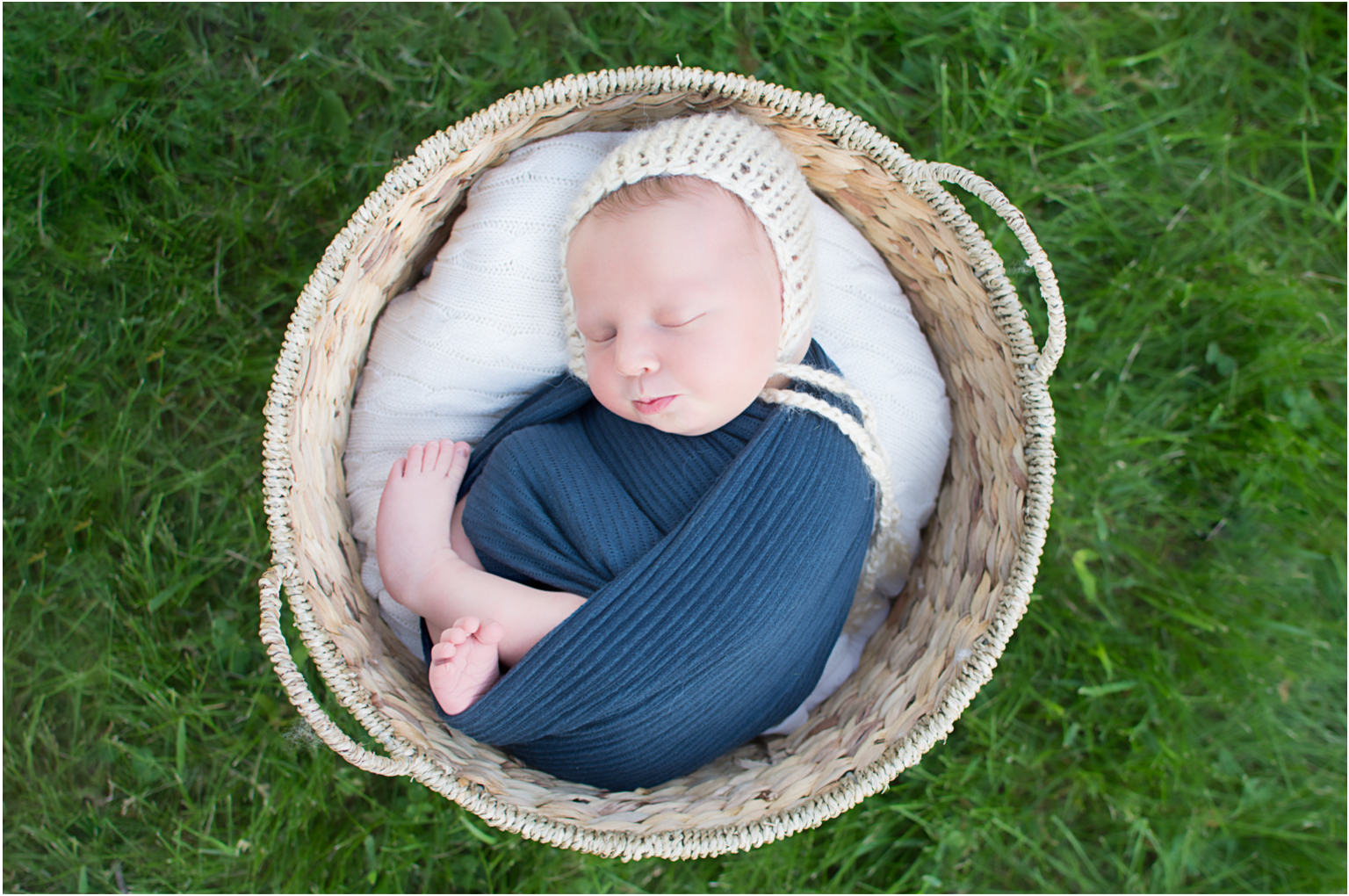 Callan Williamsport Newborn Photographer outside baby boy basket grass