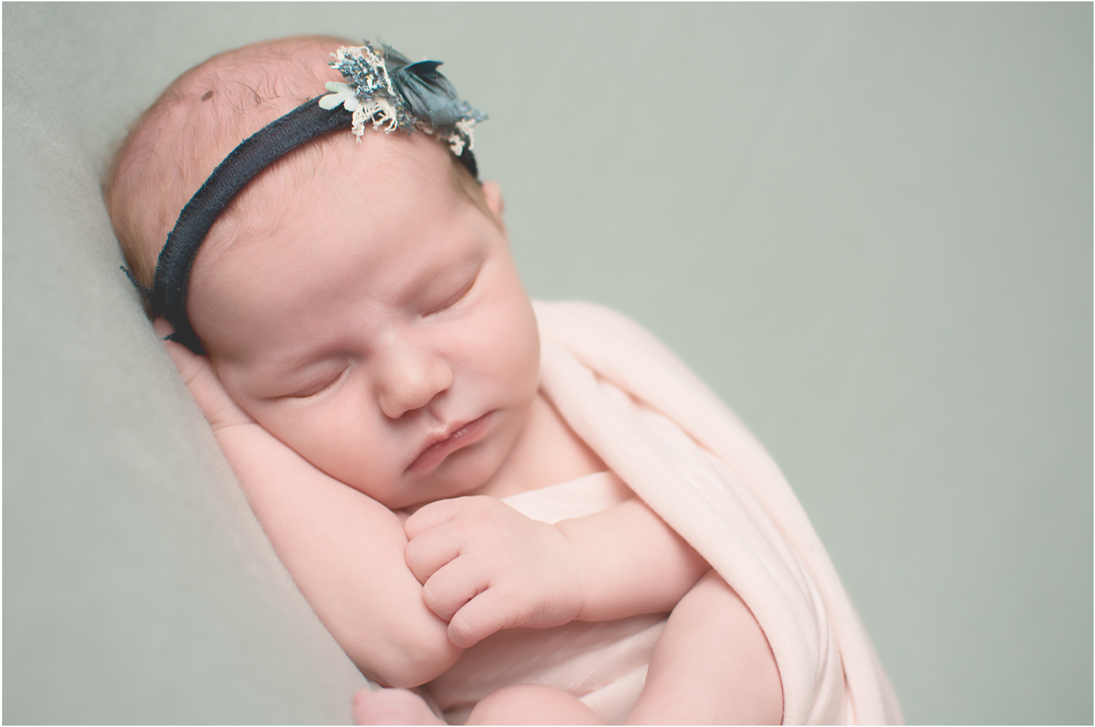 Newborn Elizabeth Williamsport PA Photographer Pink wrap blue green headband