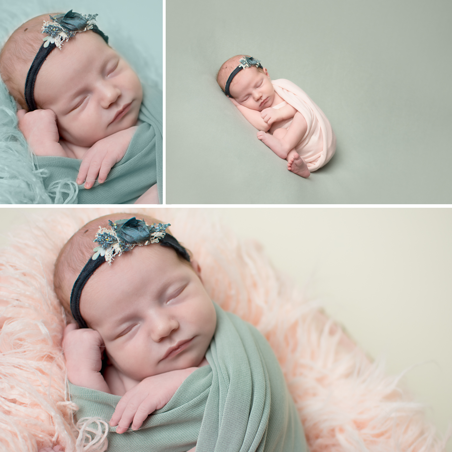 Newborn Elizabeth Williamsport PA Photographer Pink wrap blue green headband devoted knits