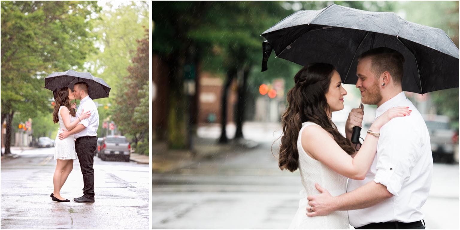 Kathy and Arthur bridal wedding portraits williamsport downtown urban rain downpour umbrella