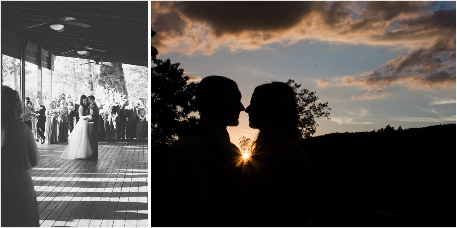Married WIlliamsport PA Wedding detail first dance sunset silohette