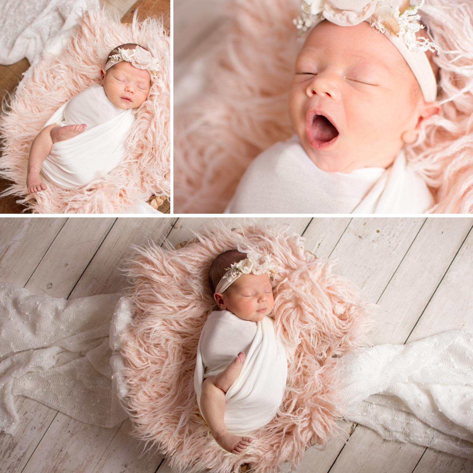 newborn session sleepy, wool, pinks whites