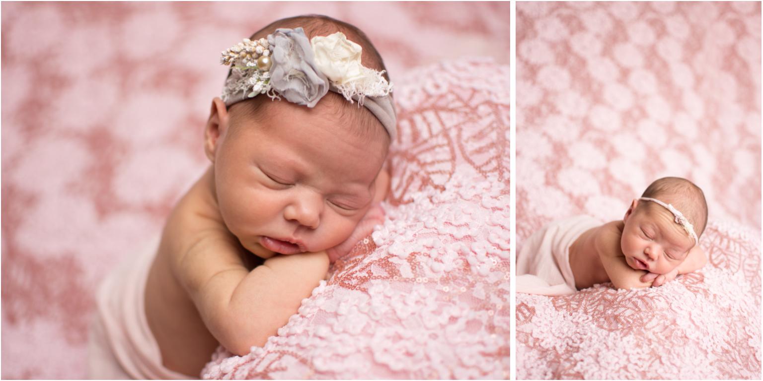 newborn pink grey gray tieback headband flowers