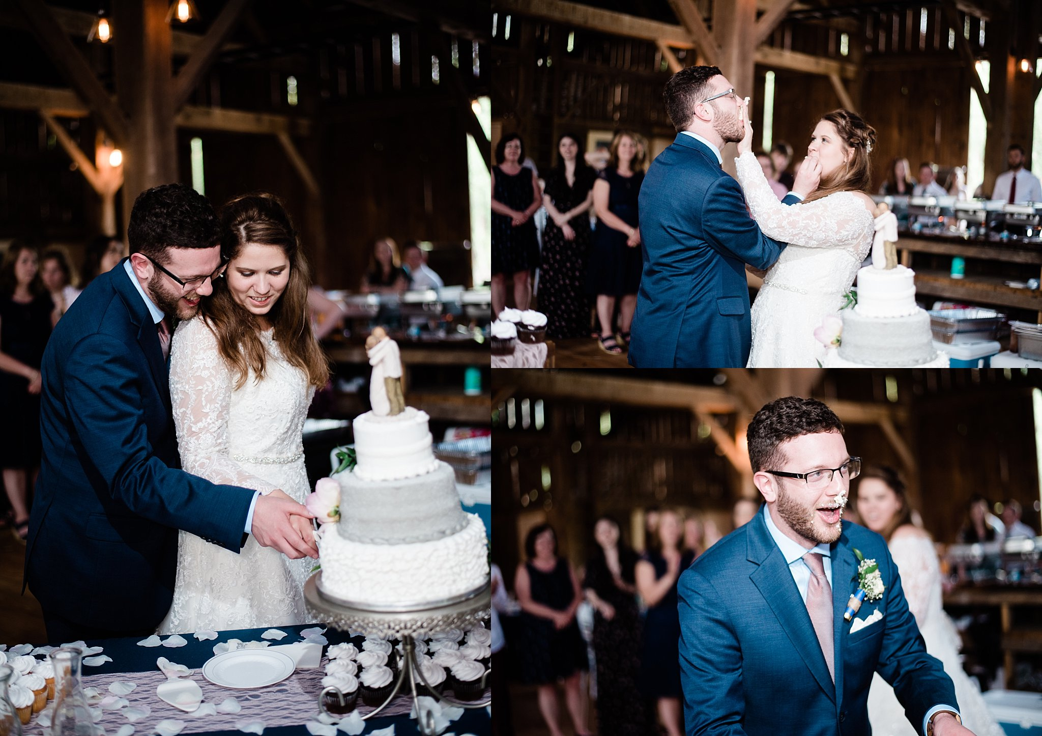 pine creek barn wedding couple cake